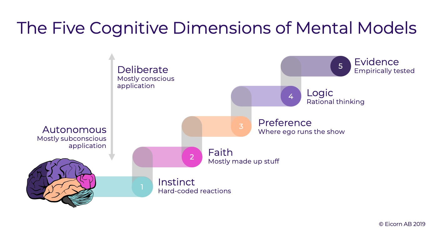 The Five Cognitive Dimensions of Mental Models: Instinct, Faith, Preference, Logic and Evidence.